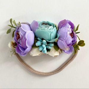 Other - Lavender & Aqua Floral Stretch Baby Headband